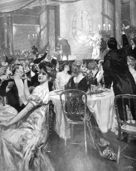Londoners ringing in the 1909 at the Savoy Hotel