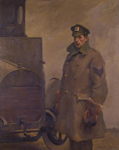 A BRCS and Order of St John Motor Driver by Gilbert Rogers, 1919 - A Red Cross driver standing by his ambulance. He looks out towards the viewer, the collar turned up on his overcoat, his hands protected by thick fur mittens.