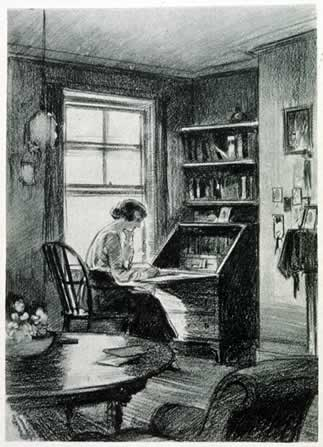 A woman undergraduate working in her study room at Somerville College.jpg