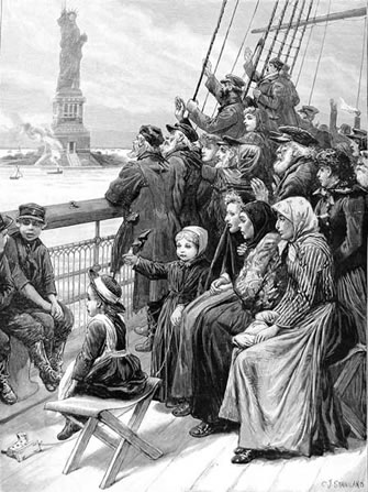 An Immigrant Ship nearing New York, 1892