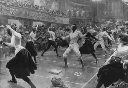 Edwardian ladies fencing match