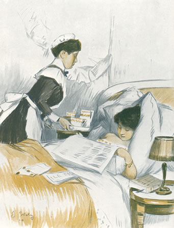 Breakfast in bed, 1910