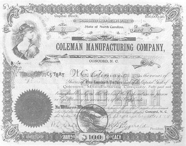 Stock Certificate, Coleman Manufacturing Company