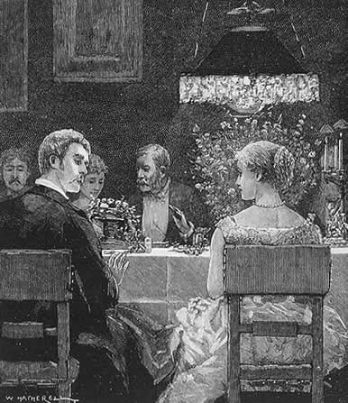 chatting at dinner table, Edwardian, Victorian