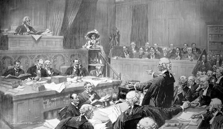 Divorce court scene from 1910