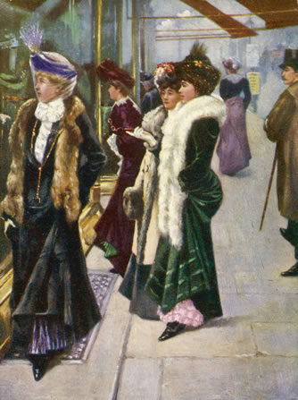 Edwardian ladies shopping in Bond Street