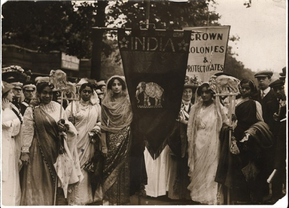 Group of Indian suffragettes in a procession