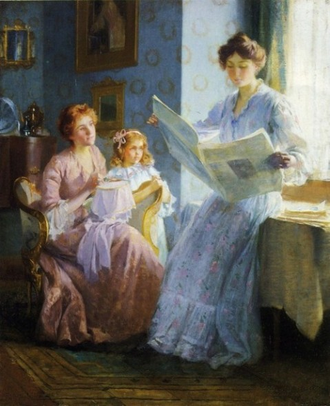 Ladies reading newspaper