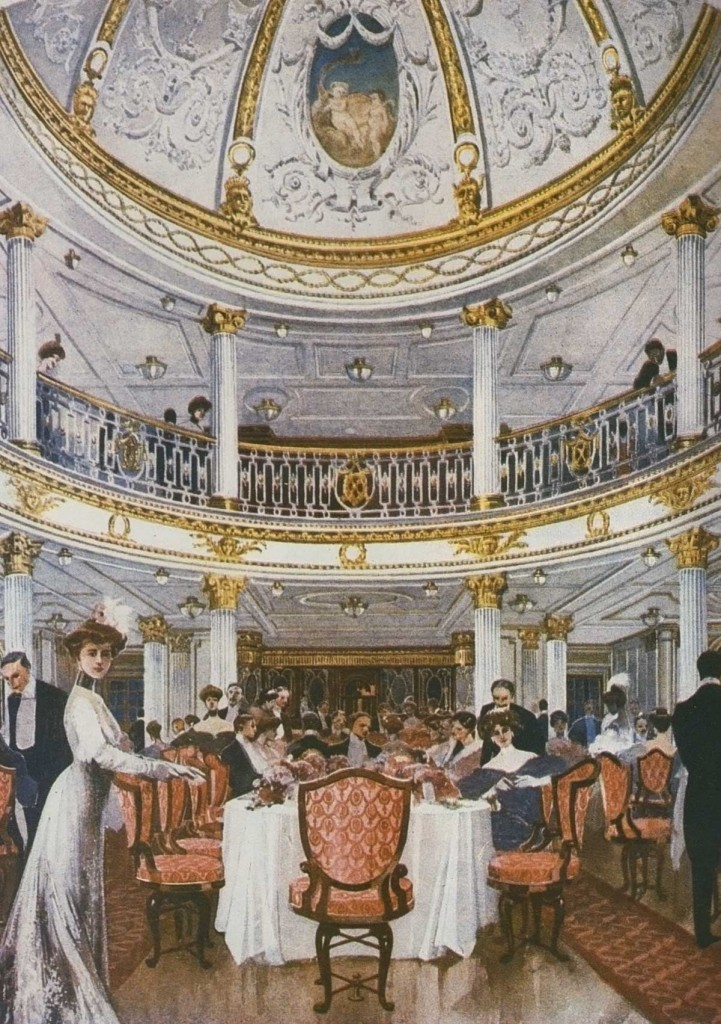 Lusitania's first class dining room