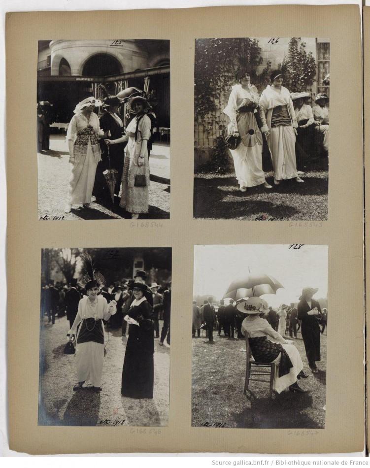 [Toilettes féminines aux courses de Longchamp] 1911-1914