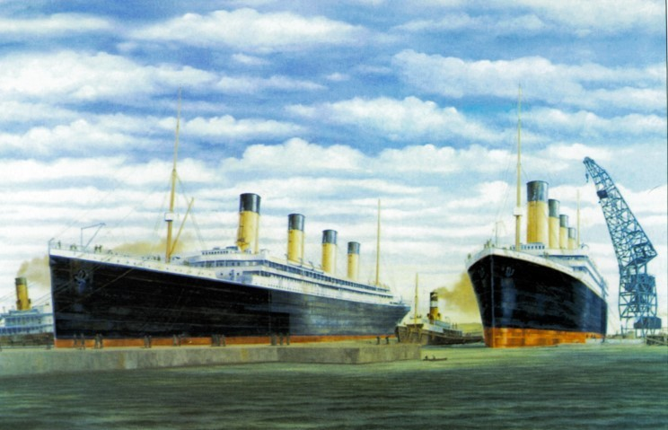 Olympic (left) and Titanic on March 6, 1912 at Harland & Wolff