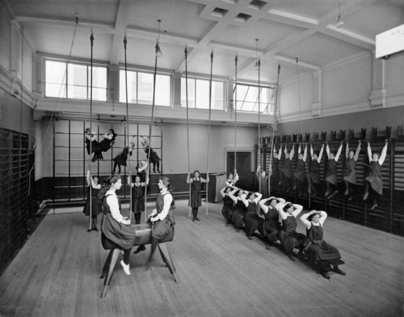 Photograph of female pupils in the Gymnasium