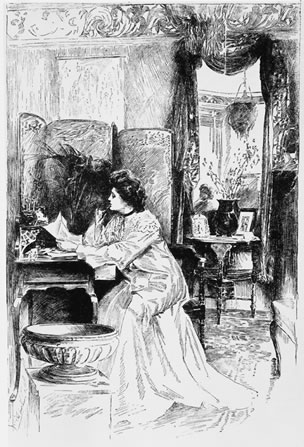 Society woman writing a letter