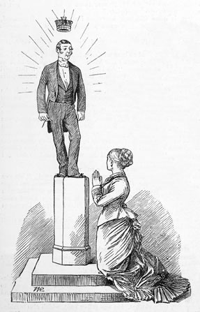 Groom on pedestal