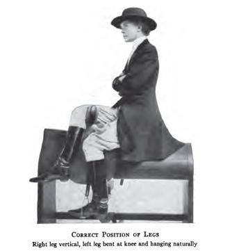 Position of legs in side-saddle