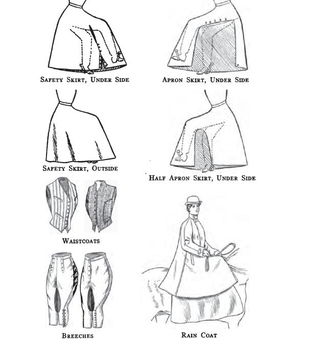 Apron skirts, safety skirts, breeches, raincoat